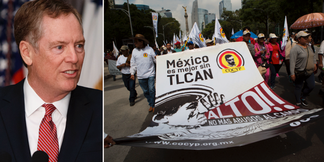 USA:s handelsrepresentant Robert Lighthizer, demonstration i Mexiko mot Nafta. TT
