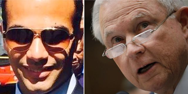 George Papadopoulos och Jeff Sessions. TT