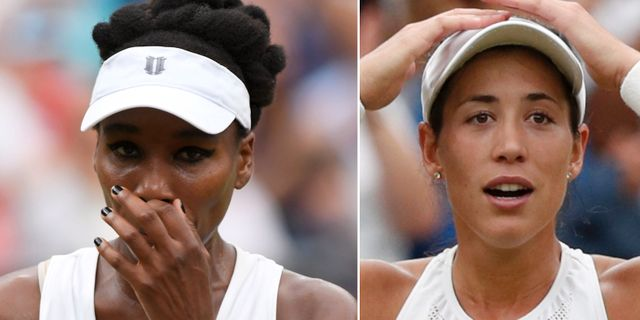 Venus Williams och Garbiñe Muguruza under dagens final. TT