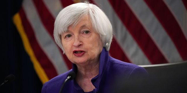 Fed-chefen Janet Yellen under kvällens presskonferens. ALEX WONG / GETTY IMAGES NORTH AMERICA