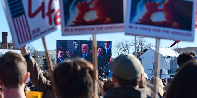 Donald Trump talar till demonstranterna via videolänk. EVA HAMBACH / AFP