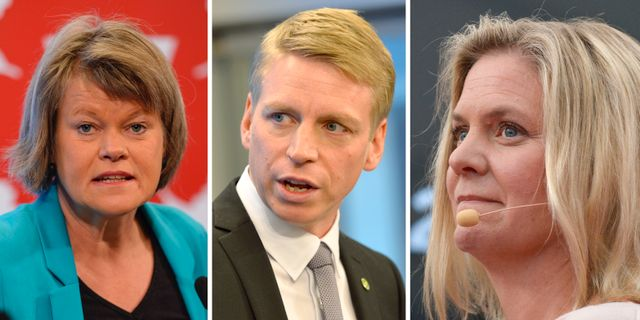Ulla Andersson (V), Per Bolund (MP), Magdalena Andersson (S). TT