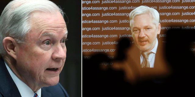 Jeff Sessions, Julian Assange (arkivbilder).  TT