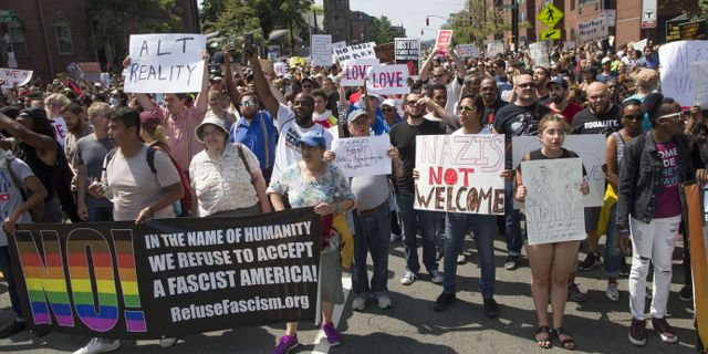 Demonstrationer i Boston mot en manifestation mot  Scott Eisen / GETTY IMAGES NORTH AMERICA