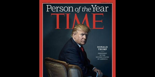 Omslaget till Time i fjol då Trump blev Person of the year. NADAV KANDER / TIME Inc.