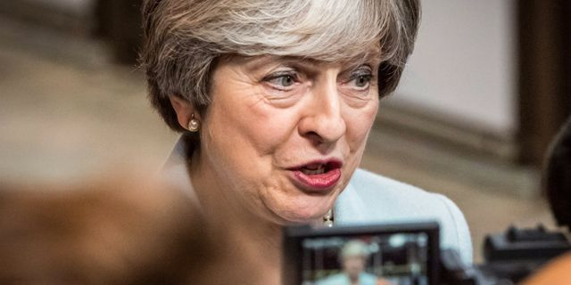 Theresa May efter fredagens samtal. AURORE BELOT / AFP