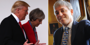 Donald Trump och Theresa May i Washington. Underhusets talman John Bercow. TT