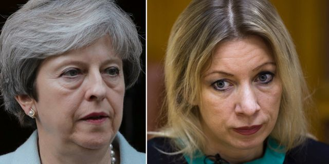Theresa May och Maria Zakharova. TT