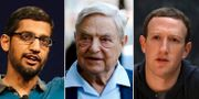 Googles Sundar Pichai, George Soros och Facebooks Mark Zuckerberg TT