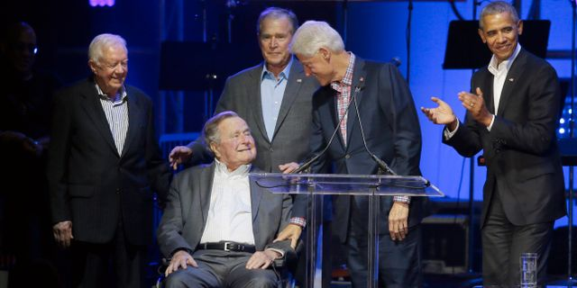 Jimmy Carter, George H W Bush, George W Bush, Bill Clinton och Barack Obama.  LM Otero / TT / NTB Scanpix