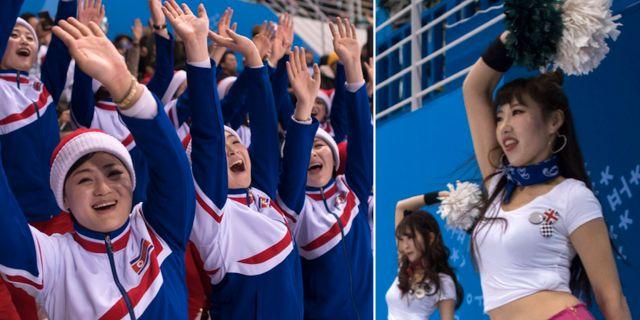 Nordkoreanska fans och de sydkoreanska cheerleadarna. TT