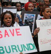 Demonstrationer i Kanada mot president Pierre Nkurunzizas regim. Bebeto Matthews / TT / NTB Scanpix