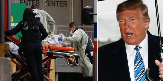 Sjukvårdare i New York/Donald Trump. TT