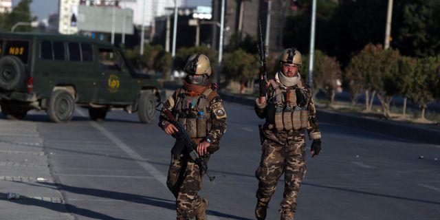 Afghanska säkerhetsstyrkor i Kabul.  Rahmat Gul / TT NYHETSBYRÅN