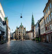 Ödsligt Strøget i centrala Köpenhamn. Emil Helms / TT NYHETSBYRÅN