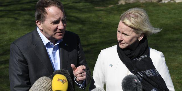 Stefan Löfven och Margot Wallström efter FN-mötet.  Johan Nilsson/TT / TT NYHETSBYRÅN