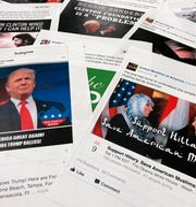 Falska nyheter som delats på sociala medier, arkivbild. Jon Elswick / TT / NTB Scanpix
