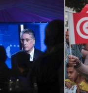 Nabil Karoui till vänster och Kais Saied till höger under ett tv-framträdande/människor på gatorna i huvudstaden Tunis stöttar Saied. TT