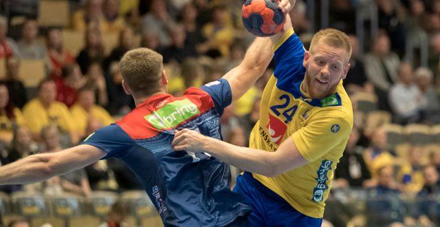Arkiv. Sveriges Jim Gottfridsson och Norges Petter Överby. Thomas Johansson/TT / TT NYHETSBYRÅN