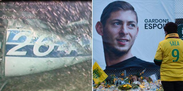 Bild från en undervattenskamera som fotat det kraschade flygplanet./Fans har lagt blommor vid en bild av Sala i Nantes.  TT