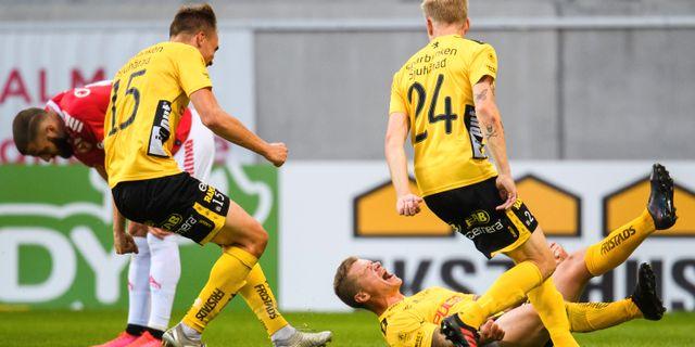 Elfsborgs Samuel Holmén jublar efter sitt mål. SUVAD MRKONJIC / BILDBYRÅN