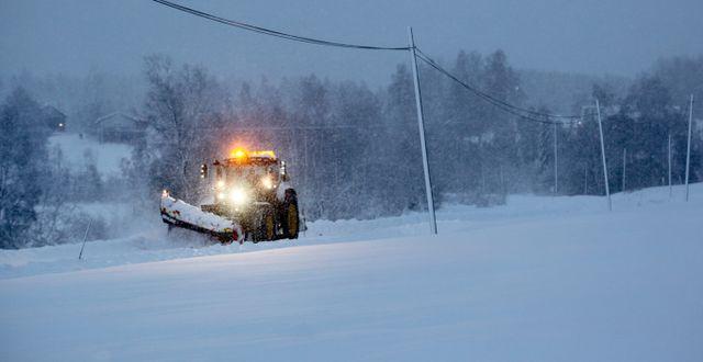 Illustrationsbild: Plogbil på en mindre väg i Västernorrland.  Mats Andersson/TT / TT NYHETSBYRÅN