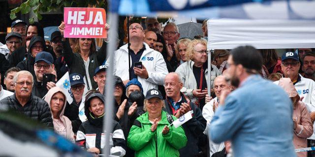 Arkivbild från torgmöte med Jimmie Åkesson. Johan Nilsson/TT / TT NYHETSBYRÅN