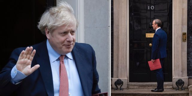 Boris Johnson den 25 mars/Dominic Raab den 6 april. TT