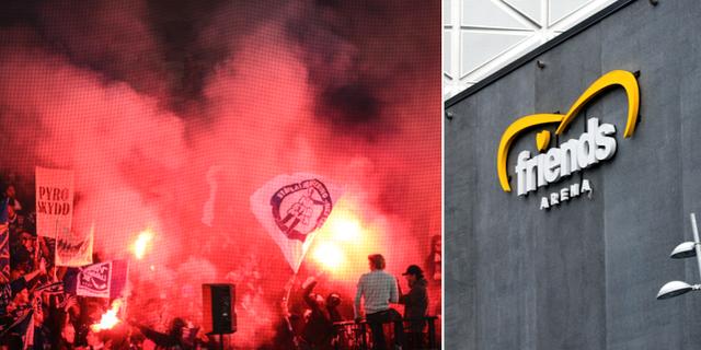 Bengaler i Villa Lidköpings klack under SM-finalen 2016. Sveriges nationalarena i fotboll. TT