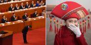 Premiärminister Li Keqiang bugar när folkkongressen inleds/En kongressvärdinna.  TT