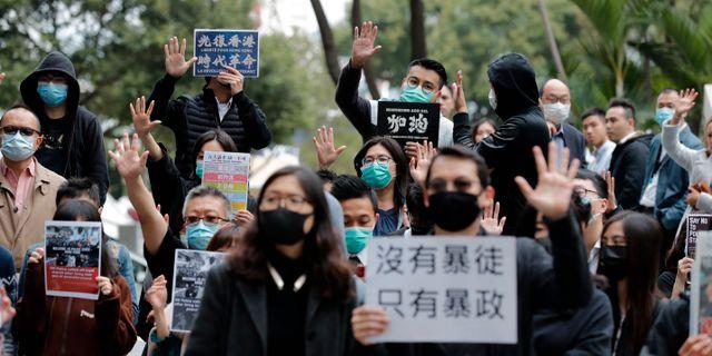 Protester i Hongkong Lee Jin-man / TT NYHETSBYRÅN