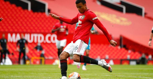 Mason Greenwood skjuter mål mot Bournemouth Clive Brunskill / TT NYHETSBYRÅN