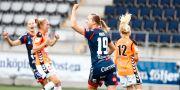 Linköpings Kristine Minde jublar efter sitt 1-0 mål under söndagens match i damallsvenskan mellan Linköpings FC och Kristianstads DFF Stefan Jerrevång/TT / TT NYHETSBYRÅN