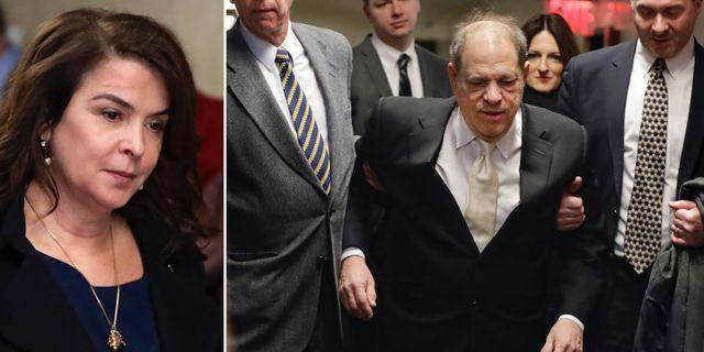 Annabella Sciorra och Harvey Weinstein. TT