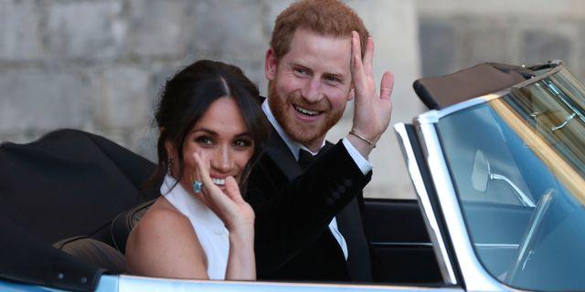 Meghan Markle och Harry på bröllopdagen. Steve Parsons / TT NYHETSBYRÅN