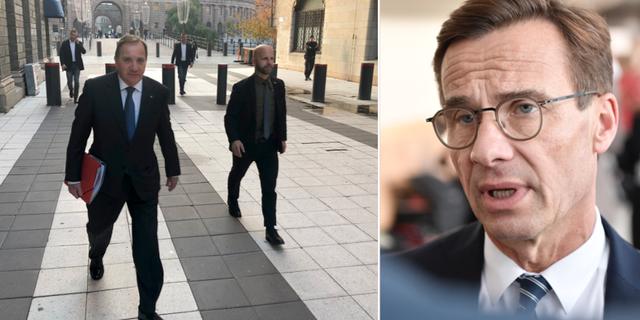 Socialdemokraternas partiledare Stefan Löfven (S) på väg till Rosenbad i Stockholm/Kristersson TT
