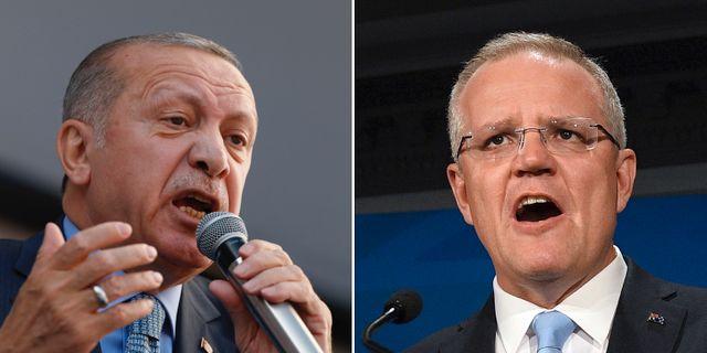 Recep Tayyip Erdogan och Scott Morrison.  TT