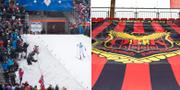 Bild från världscuptävling i Östersund 2015, samt en bild på ÖFK:s logga. Arkivbilder. TT