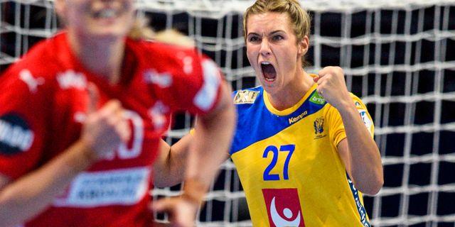 Sabina Jacobsen i matchen mot Danmark.  LUDVIG THUNMAN / BILDBYR N