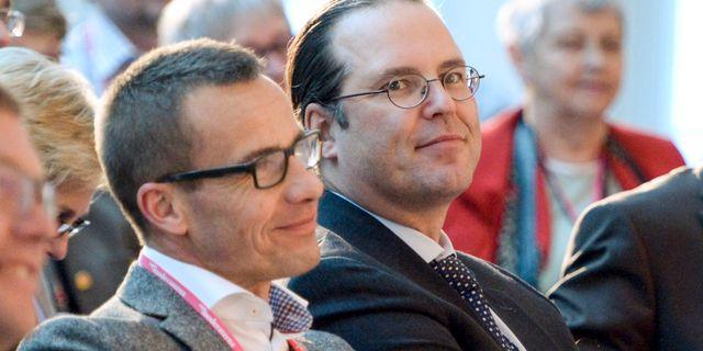 Anders Borg bredvid nuvarande M-ledaren Ulf Kristersson. Arkivbild från 2012.  Bertil Enevåg Ericson / TT / TT NYHETSBYRÅN