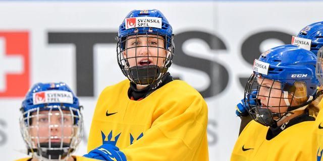 Hanna Olsson (nr 26) i Sveriges damkronor inför en match i april.  Jonas Ekströmer/TT / TT NYHETSBYRÅN