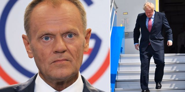 Donald Tusk och Boris Johnson i Biarritz på lördagen.  REUTERS/Dylan Martinez/Pool Photo: / REUTERS / TT / kod 72000 / LUDOVIC MARIN / AFP) / TT / kod 444