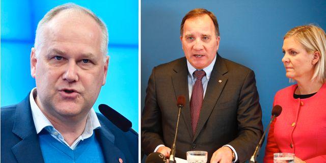 Sjöstedt, Stefan Löfven och Magdalena Andersson.  TT