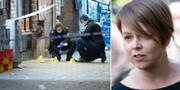 Polisens tekniker på plats vid Möllevångstorget/Katrin Stjernfeldt Jammeh. TT