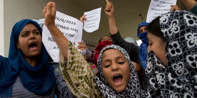 Demonstrationer i Kashmir. Dar Yasin / TT NYHETSBYRÅN/ NTB Scanpix