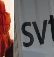 """Omslaget till """"Watching the Moon at Night"""" och SVT:s logga. TT"""
