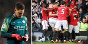 Ederson, firande United-spelare.  Bildbyrån