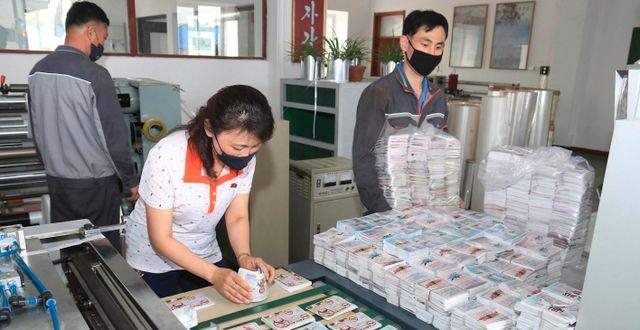Flygblad packas på ett foto från den nordkoreanska regimen.  TT NYHETSBYRÅN