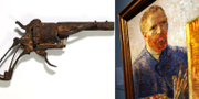 T.v revolvern som van Gogh tros ha skjutit sig själv med. T.h ett självporträtt av den holländske konstnären.  TT