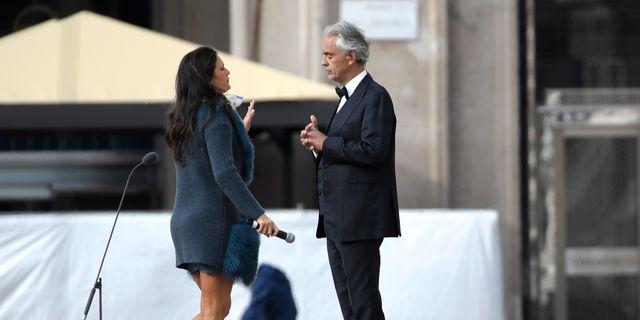 Bocelli med sin fru Veronica Berti Luca Bruno / TT NYHETSBYRÅN